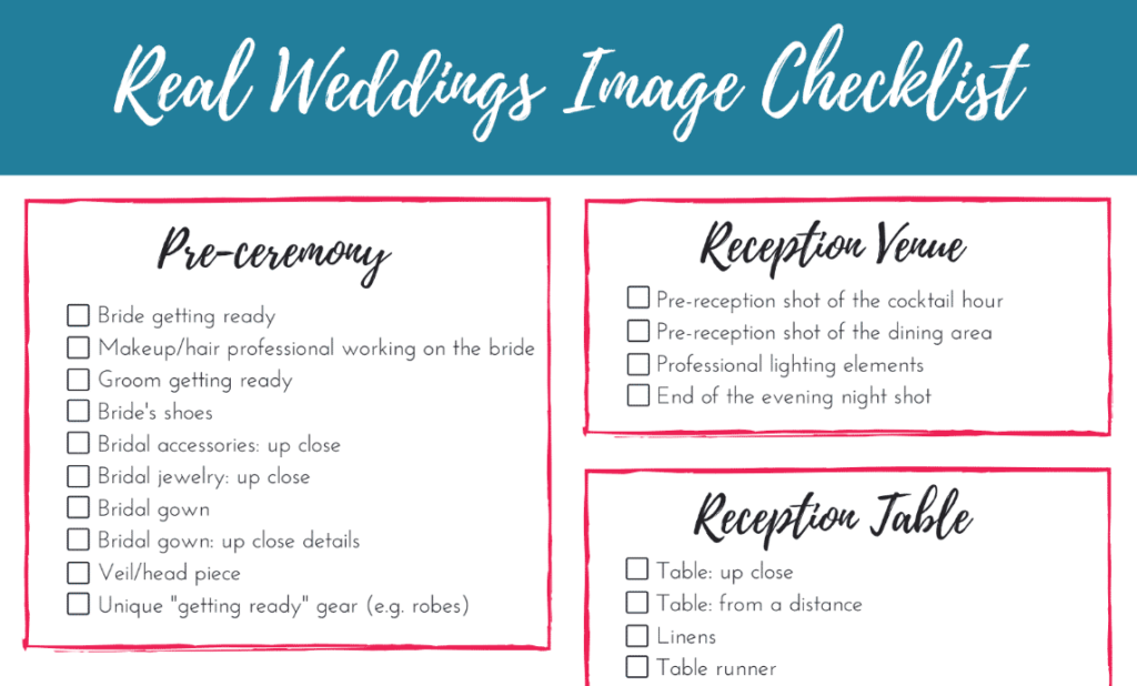 Checklist for submitting wedding photos for publication