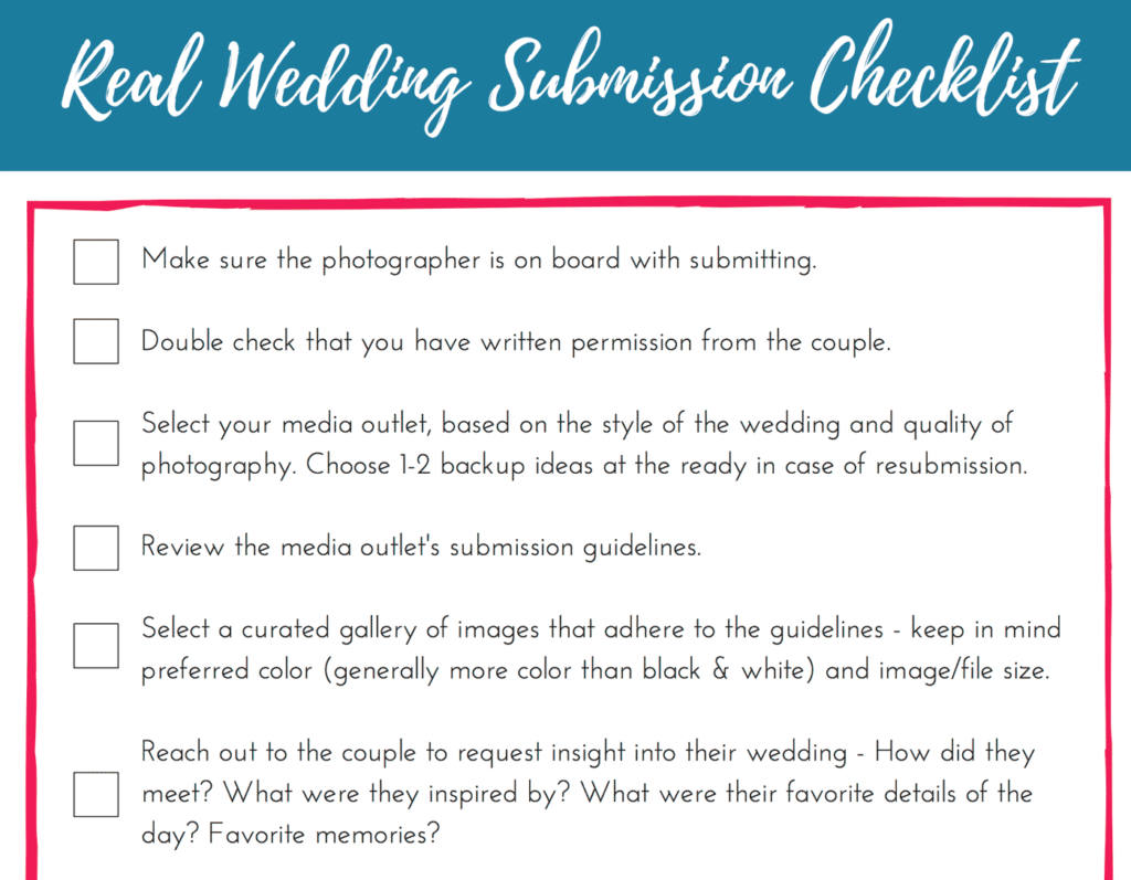 Real wedding submissions checklist